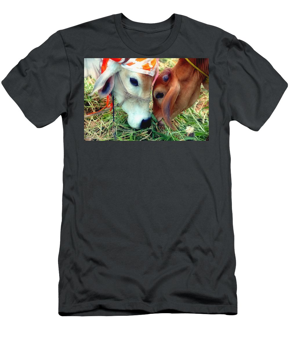 Cows From Benin Men's T-Shirt (Athletic Fit) featuring the painting Cows by Jeelan Clark