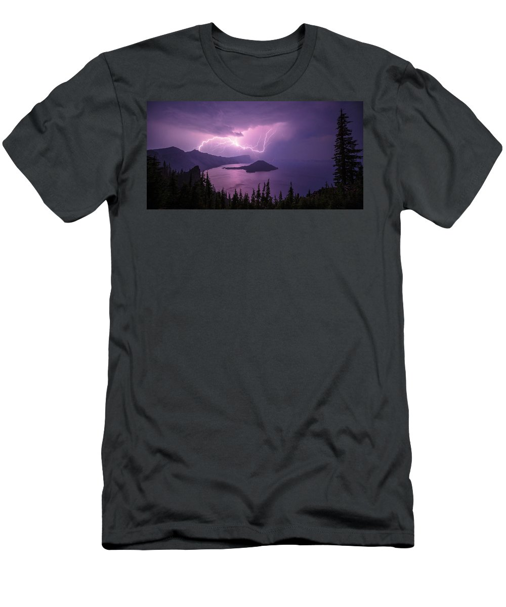 Crater Storm Men's T-Shirt (Athletic Fit) featuring the photograph Crater Storm by Chad Dutson