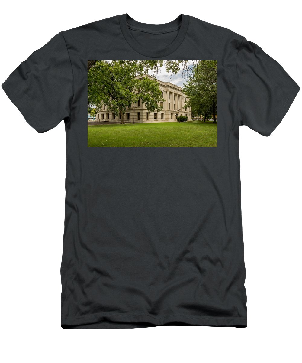 Court Men's T-Shirt (Athletic Fit) featuring the photograph Crawford County Courthouse by Ken Kobe