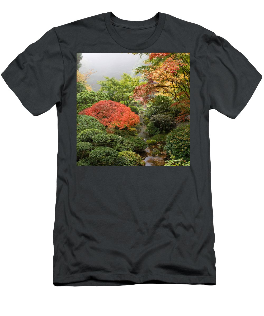 Creek Men's T-Shirt (Athletic Fit) featuring the photograph Creek At Japanese Garden In The Fall by Jit Lim