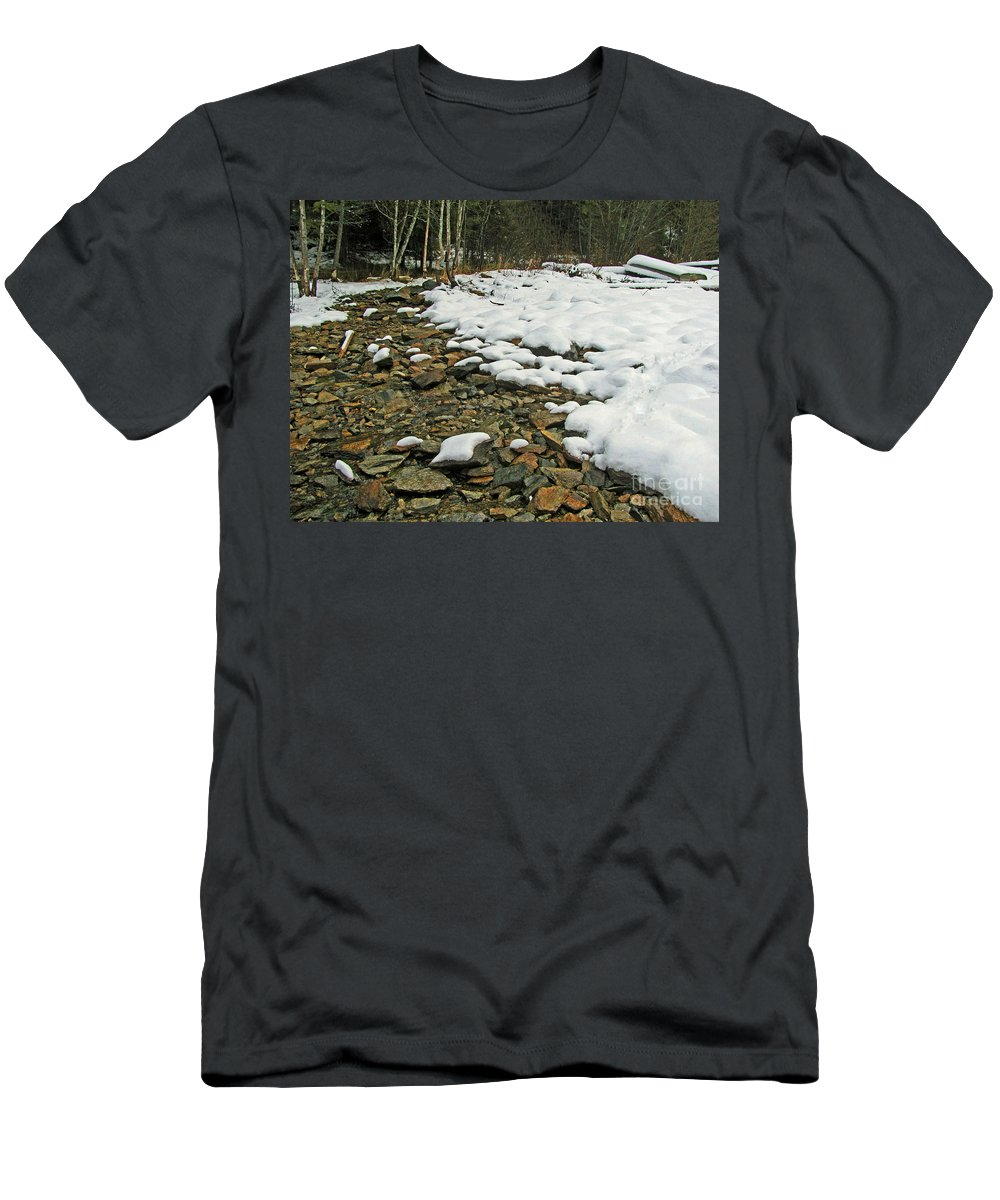 Winter Men's T-Shirt (Athletic Fit) featuring the photograph Creek Bed by Leone Lund