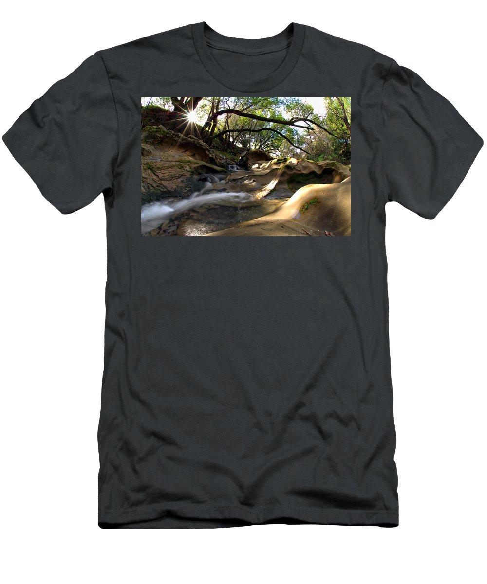 Landscape Men's T-Shirt (Athletic Fit) featuring the photograph Creekside Sunrise by Donna Blackhall