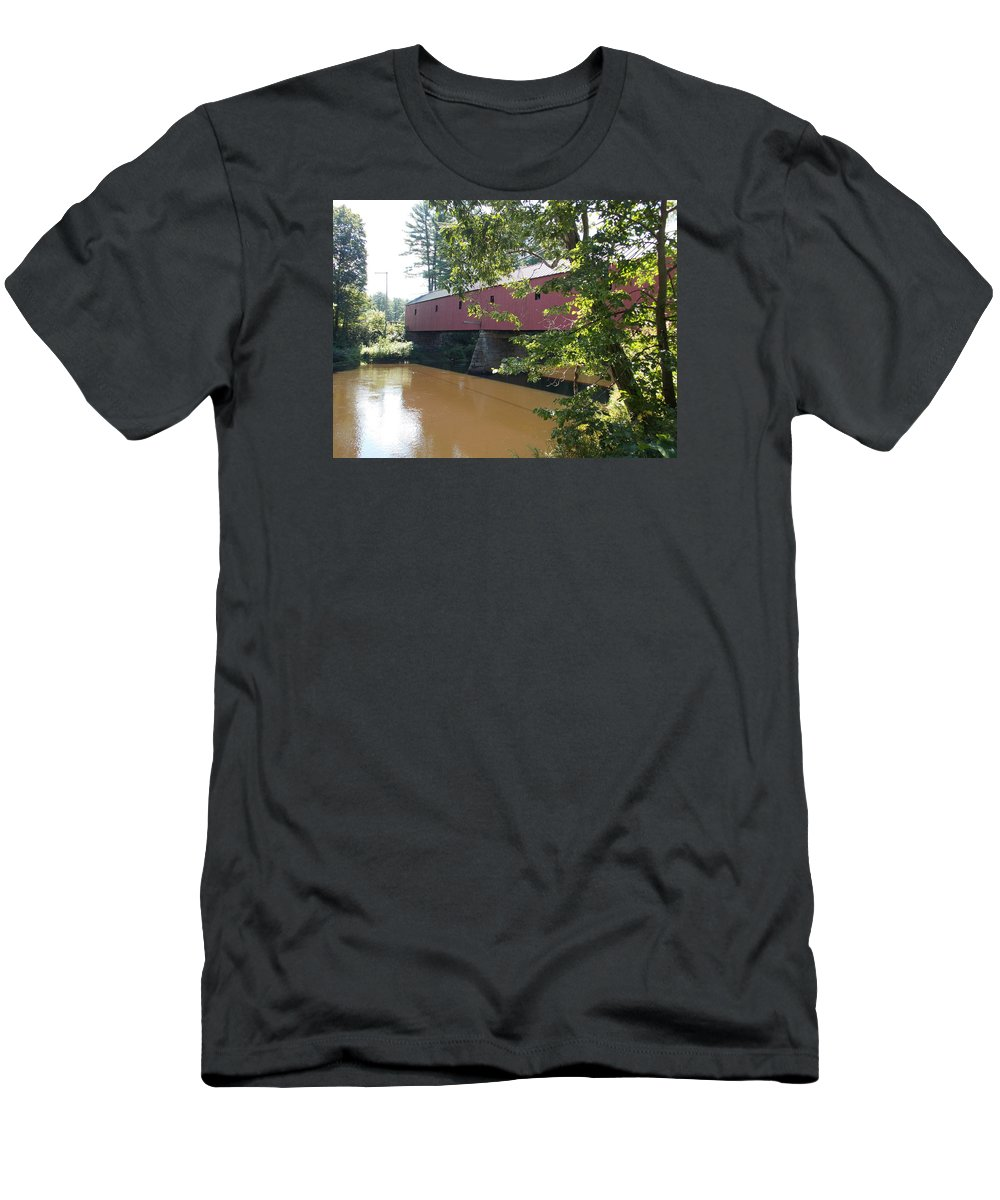 Cresson Covered Bridge Men's T-Shirt (Athletic Fit) featuring the photograph Cresson Bridge by Catherine Gagne