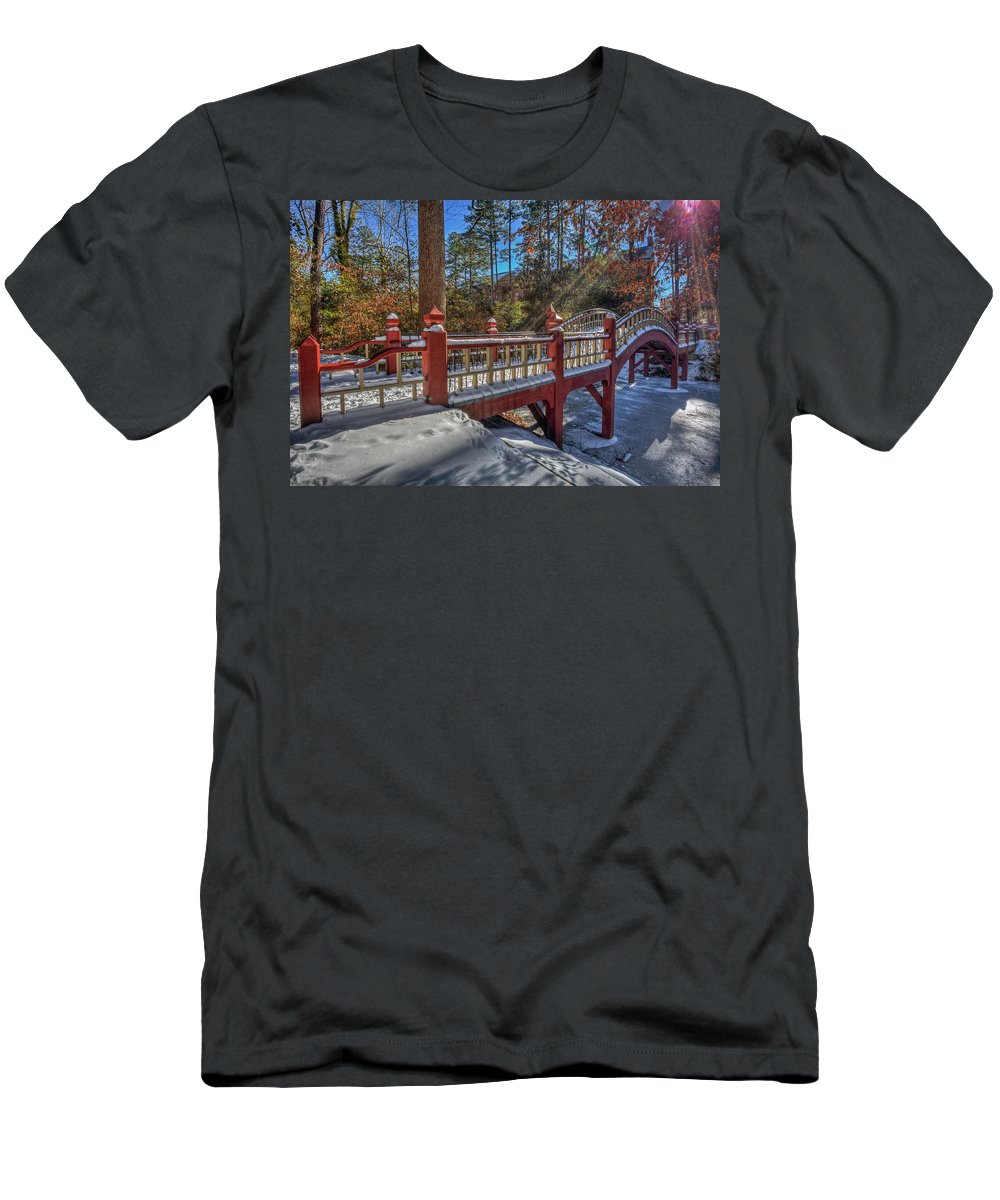 Crim Dell Men's T-Shirt (Athletic Fit) featuring the photograph Crim Dell Bridge William And Mary by Jerry Gammon