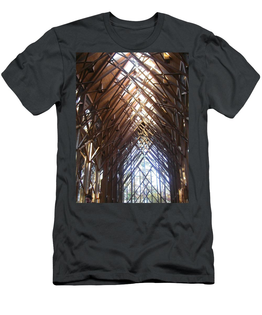 Chapel Men's T-Shirt (Athletic Fit) featuring the photograph Criss Cross Chapel by Anne Cameron Cutri