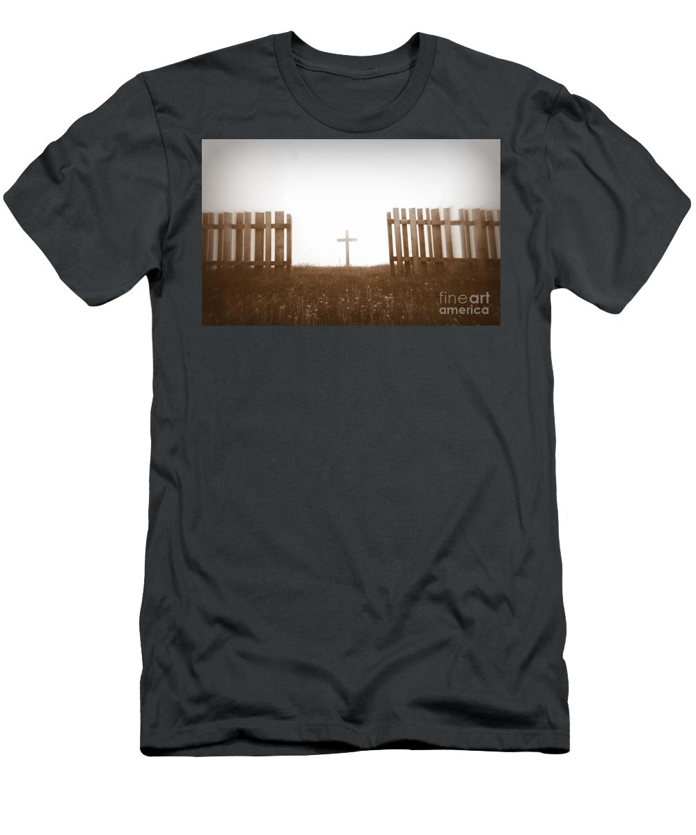 Christ Men's T-Shirt (Athletic Fit) featuring the photograph Cross Between The Fences by Amanda Mohler