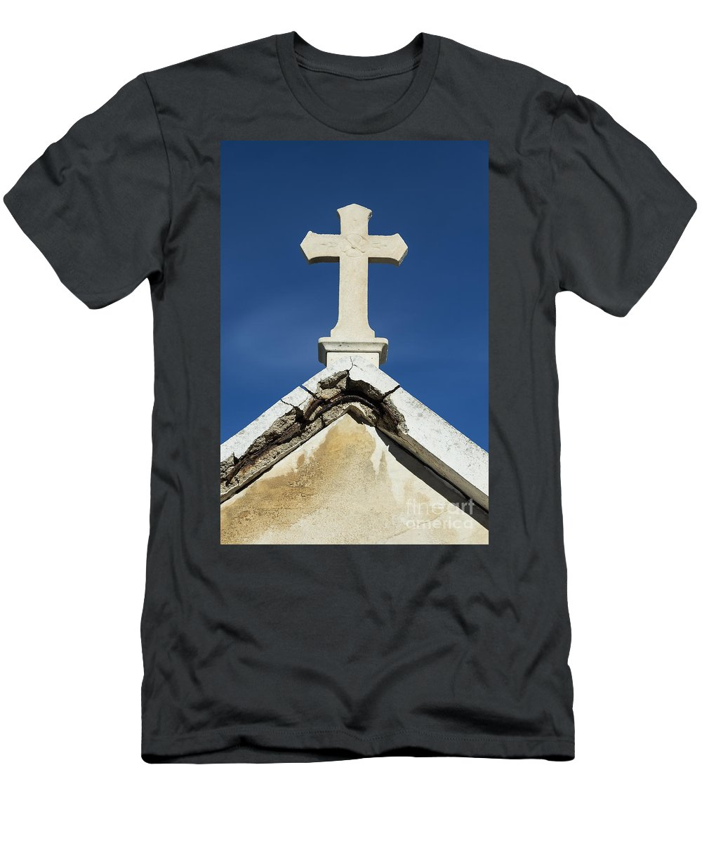 Cemetery Men's T-Shirt (Athletic Fit) featuring the photograph Cross by John Greim