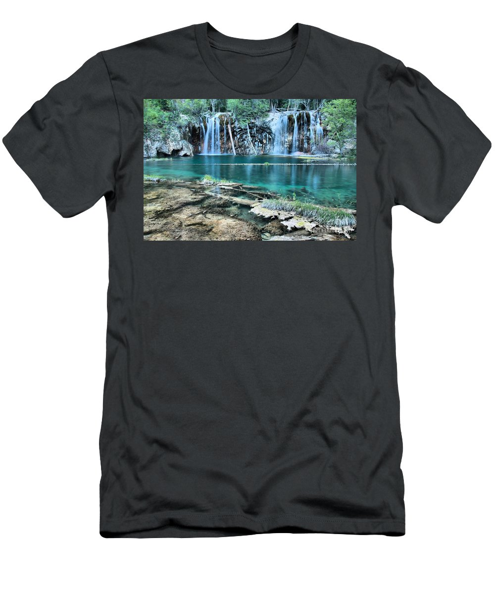 Hanging Lake Men's T-Shirt (Athletic Fit) featuring the photograph Crystal Blue Waters by Adam Jewell