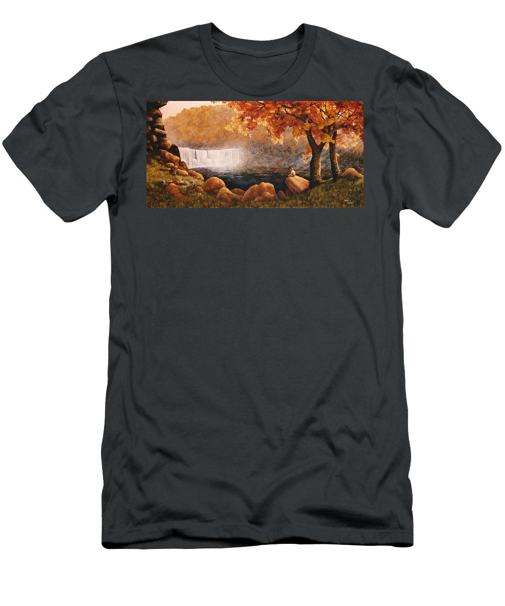 Waterfall Men's T-Shirt (Athletic Fit) featuring the painting Cumberland Falls by Duane R Probus
