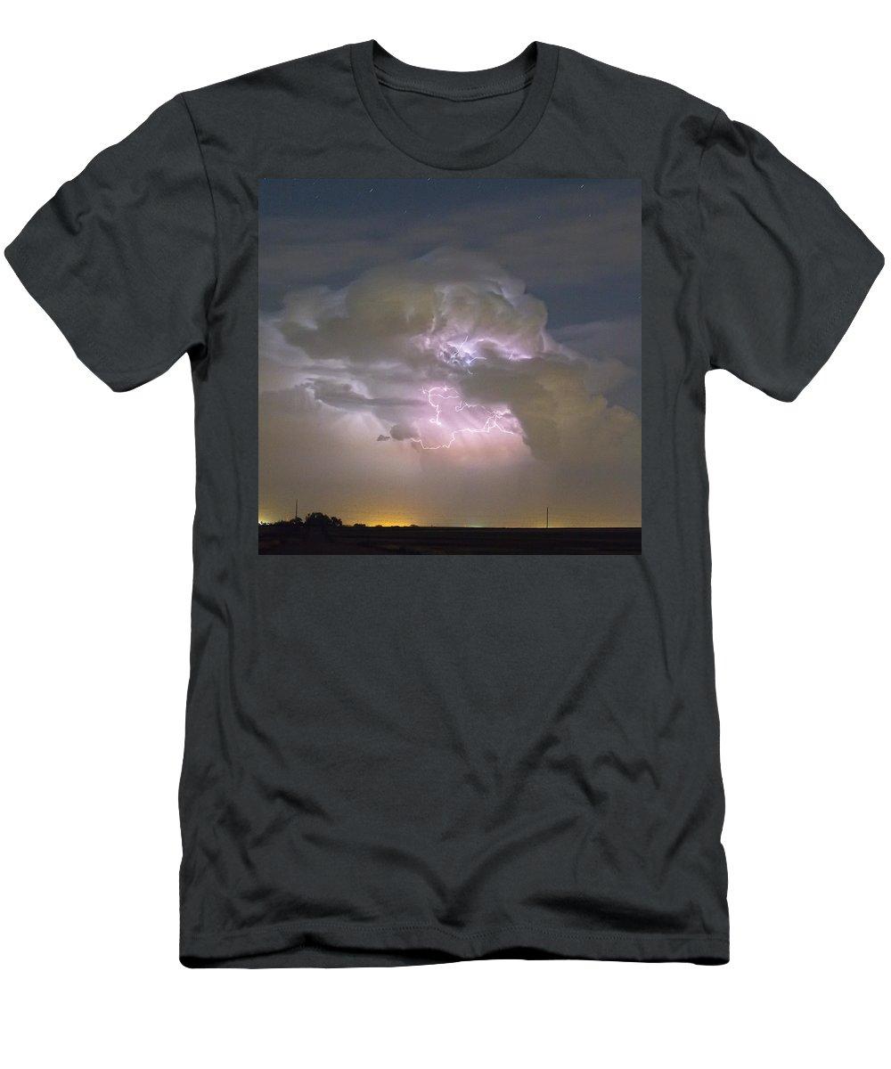Lightning Men's T-Shirt (Athletic Fit) featuring the photograph Cumulonimbus Cloud Explosion Portrait by James BO Insogna