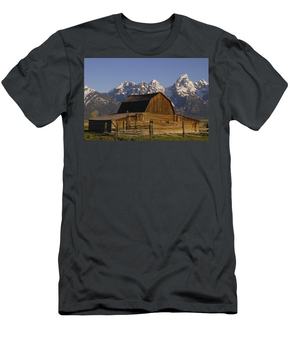 Feb0514 Men's T-Shirt (Athletic Fit) featuring the photograph Cunningham Cabin Grand Tetons Wyoming by Pete Oxford