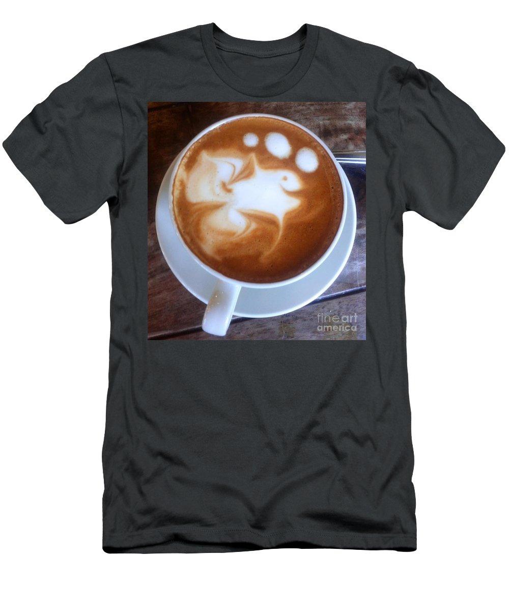 Latte Art Men's T-Shirt (Athletic Fit) featuring the photograph Cup Of Fish by Susan Garren