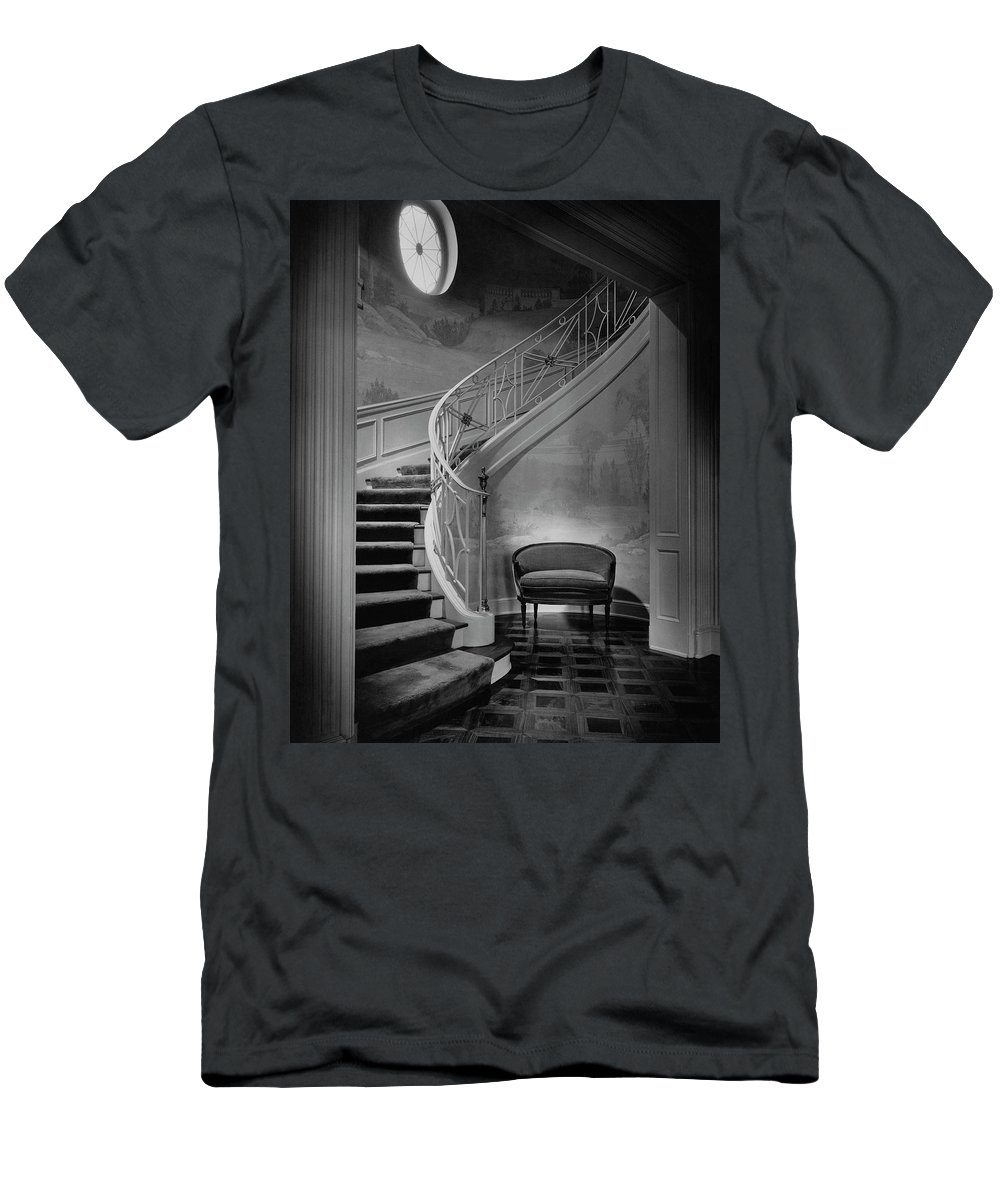 Interior T-Shirt featuring the photograph Curving Staircase In The Home Of W. E. Sheppard by Maynard Parker