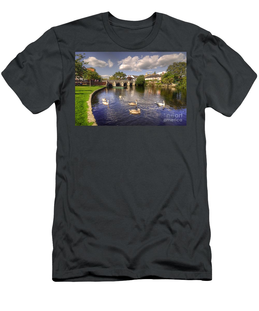 Christchurch Men's T-Shirt (Athletic Fit) featuring the photograph Cygnets At Christchurch by Rob Hawkins