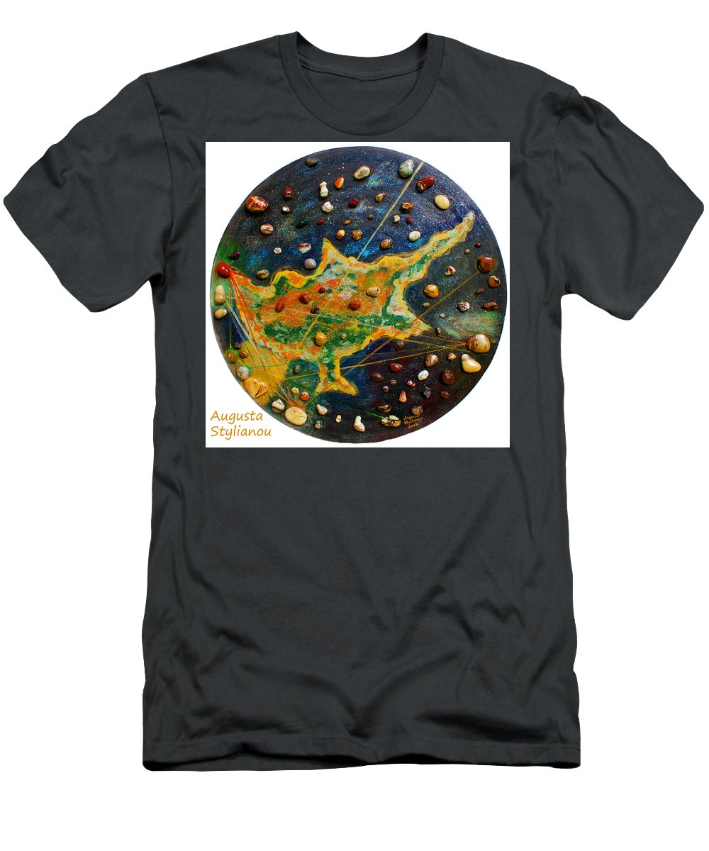Augusta Stylianou Men's T-Shirt (Athletic Fit) featuring the painting Cyprus Planets by Augusta Stylianou
