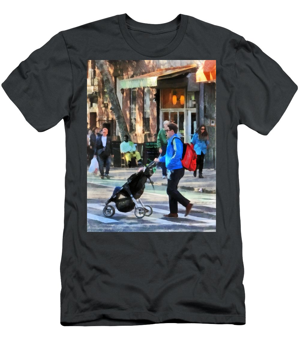Greenwich Village Men's T-Shirt (Athletic Fit) featuring the photograph Daddy Pushing Stroller Greenwich Village by Susan Savad