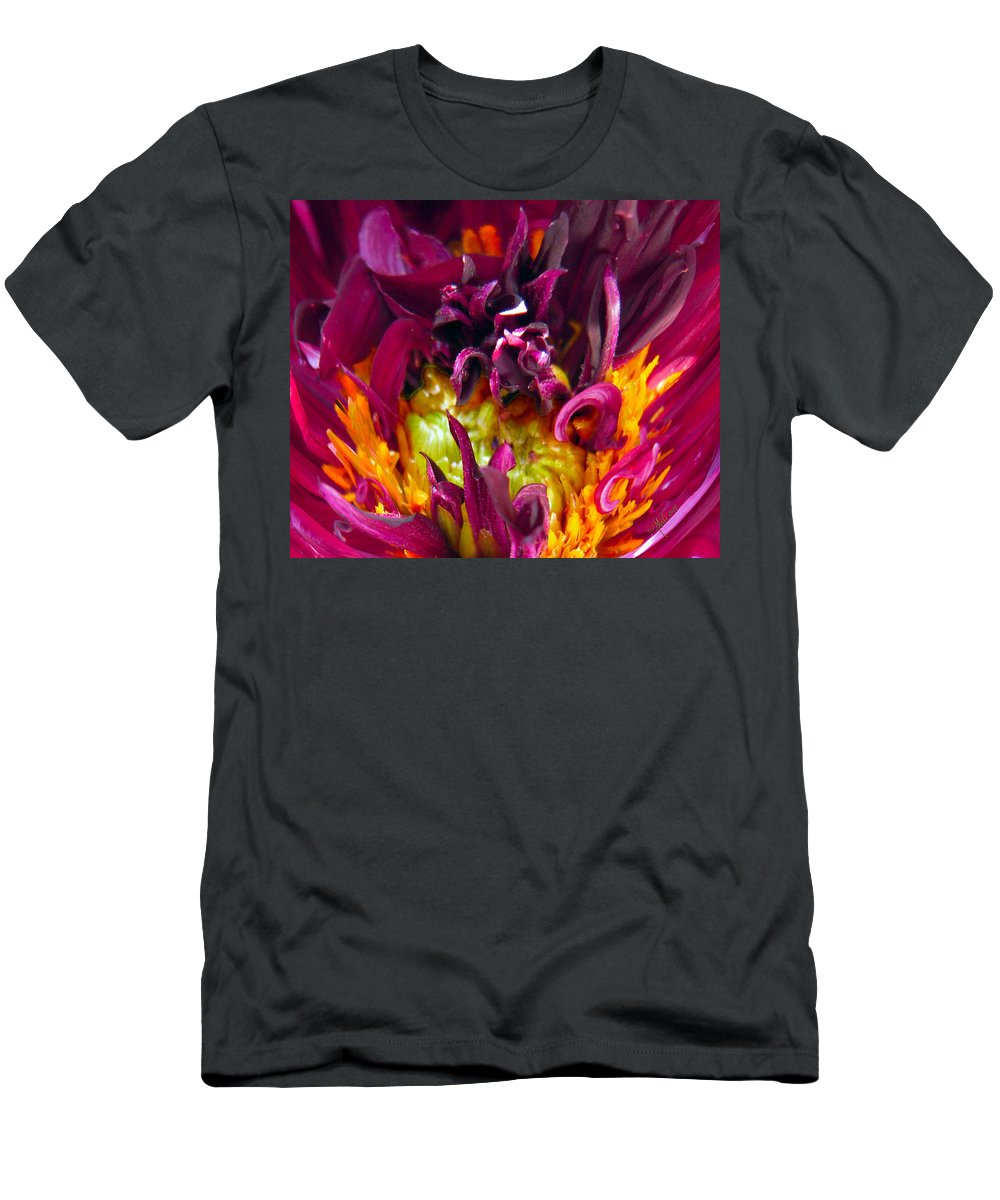 Dahlia Men's T-Shirt (Athletic Fit) featuring the photograph Dahlia Fairies Delight by Michele Avanti