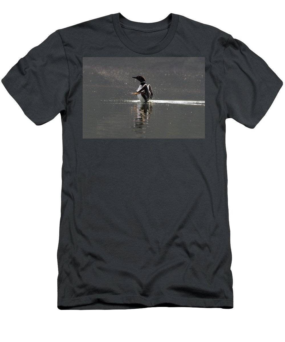 #nature Men's T-Shirt (Athletic Fit) featuring the photograph Dancing Loon by Randy Giesbrecht