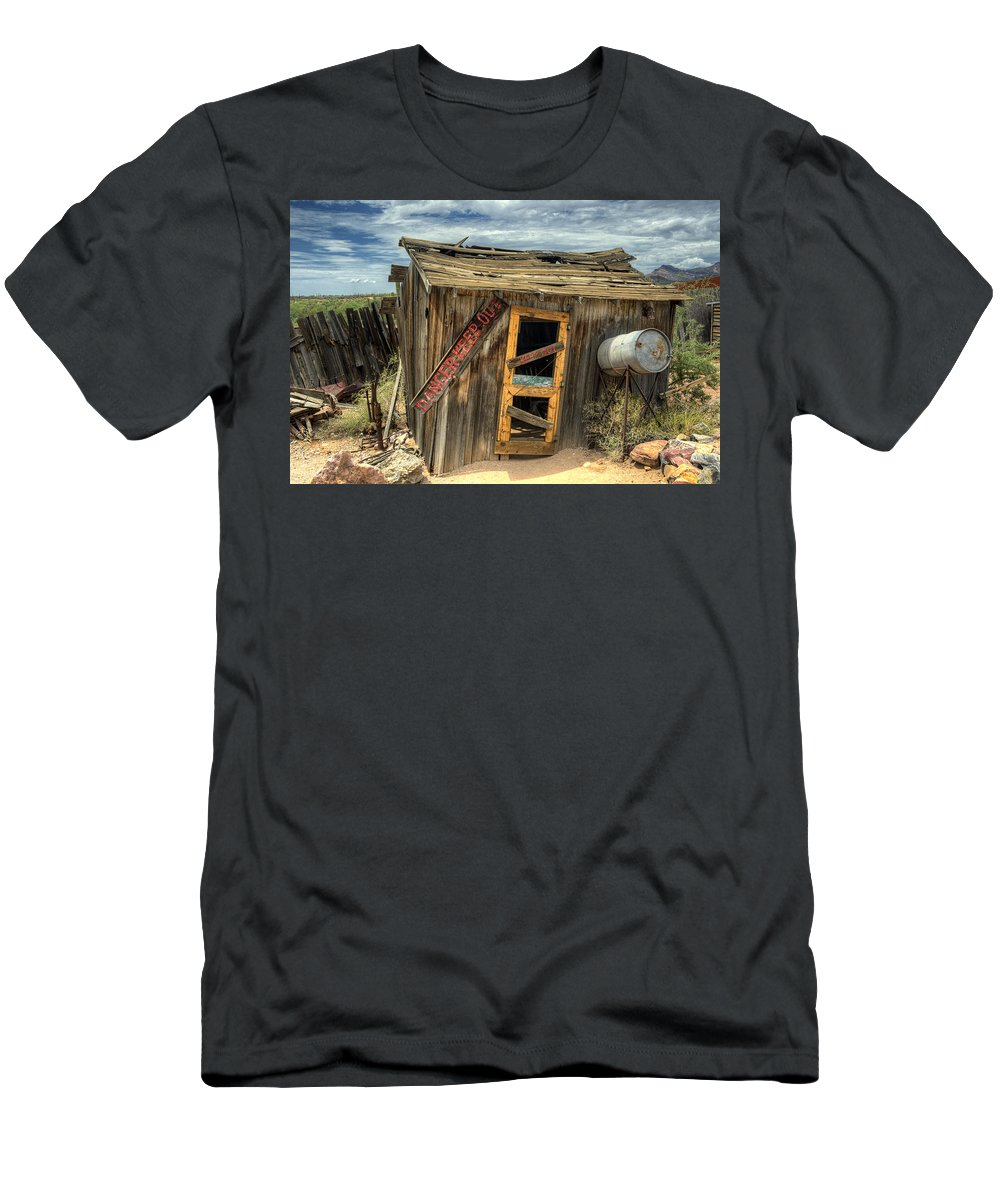 Goldfield Ghost Town Men's T-Shirt (Athletic Fit) featuring the photograph Danger Keep Out by Saija Lehtonen