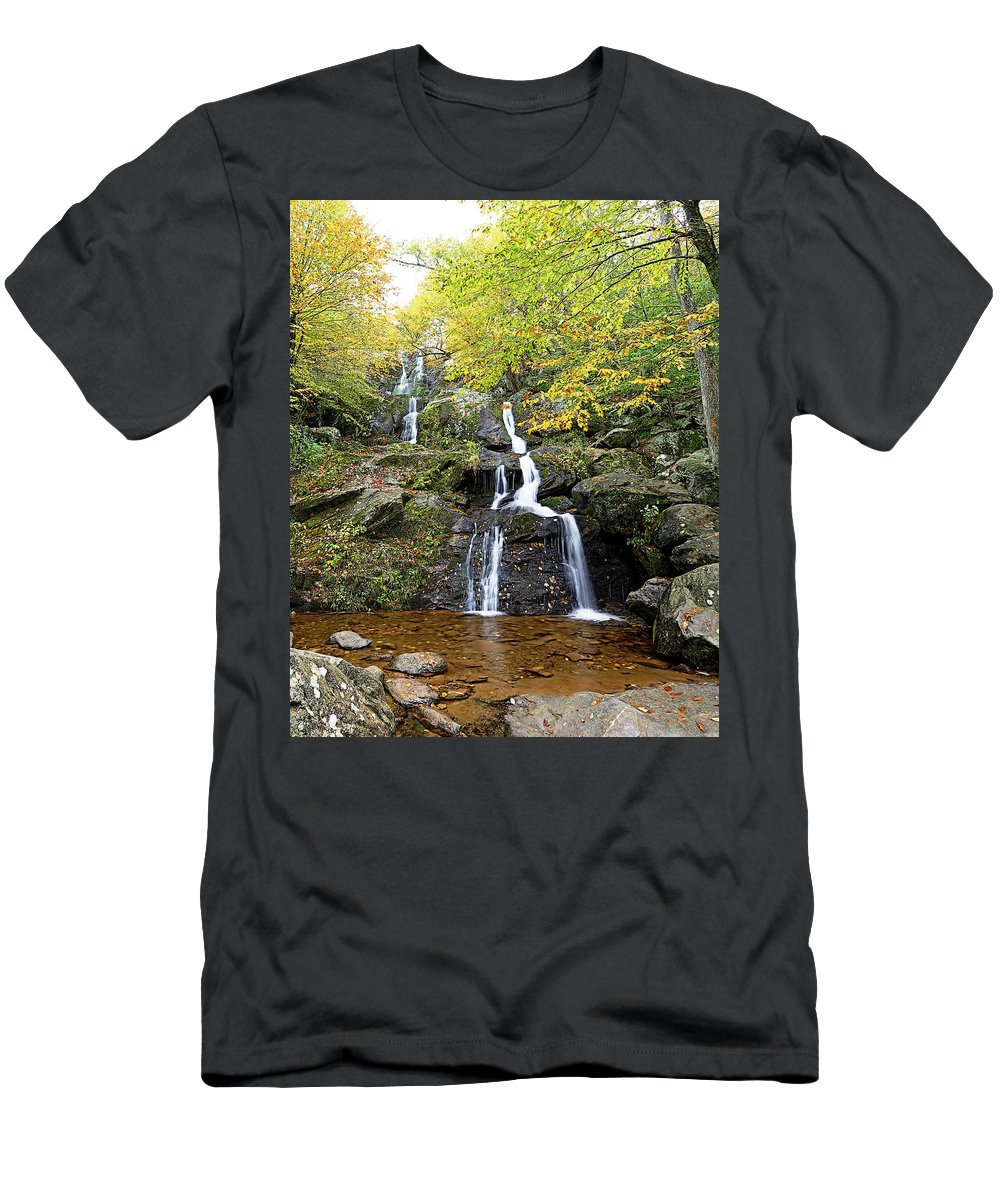 Metro Men's T-Shirt (Athletic Fit) featuring the photograph Dark Hollow Falls by Metro DC Photography