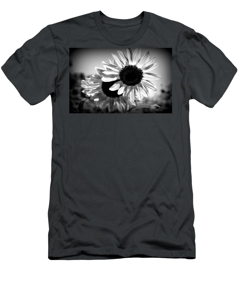 Black And White Sunflowers Men's T-Shirt (Athletic Fit) featuring the photograph Dark Petals by Laurie Perry