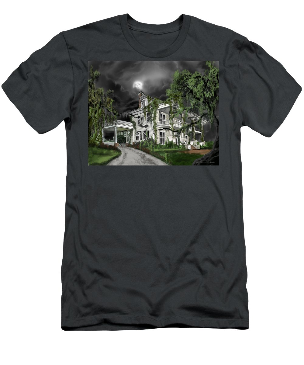 T-Shirt featuring the painting Dark Plantation House by James Christopher Hill