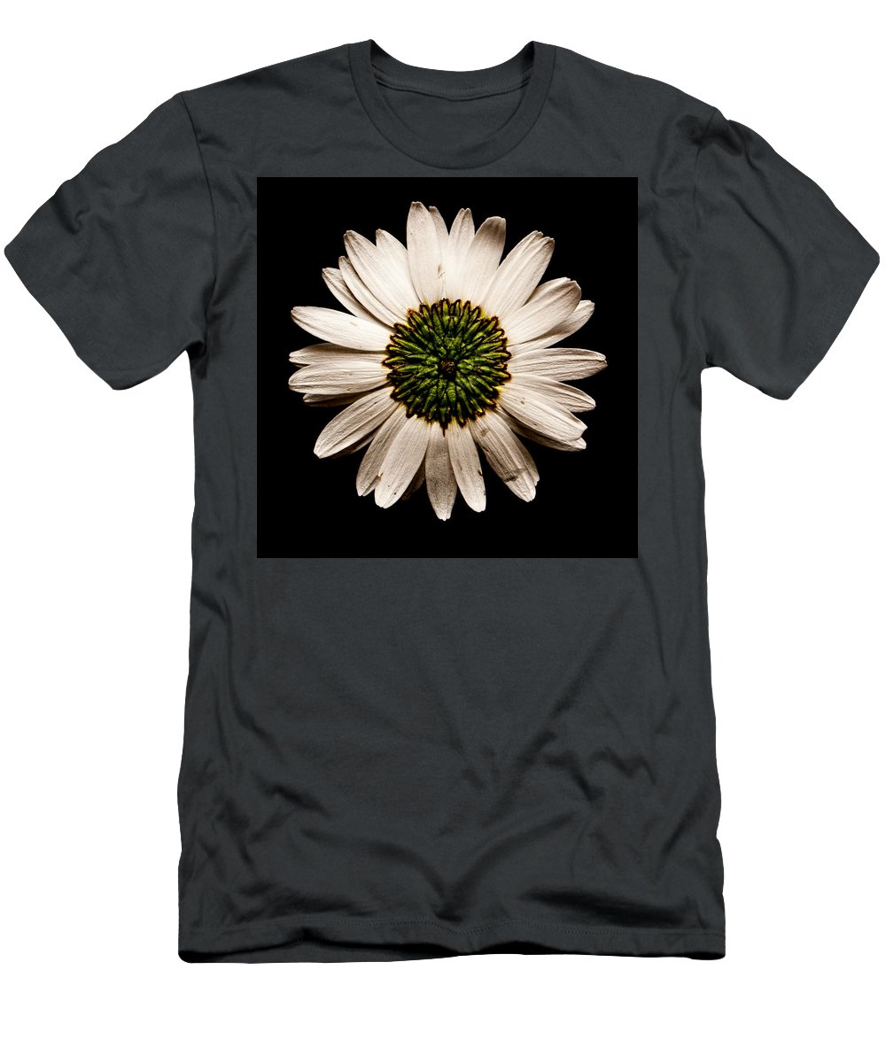 Daisy Men's T-Shirt (Athletic Fit) featuring the photograph Dark Side Of A Daisy Square by Weston Westmoreland