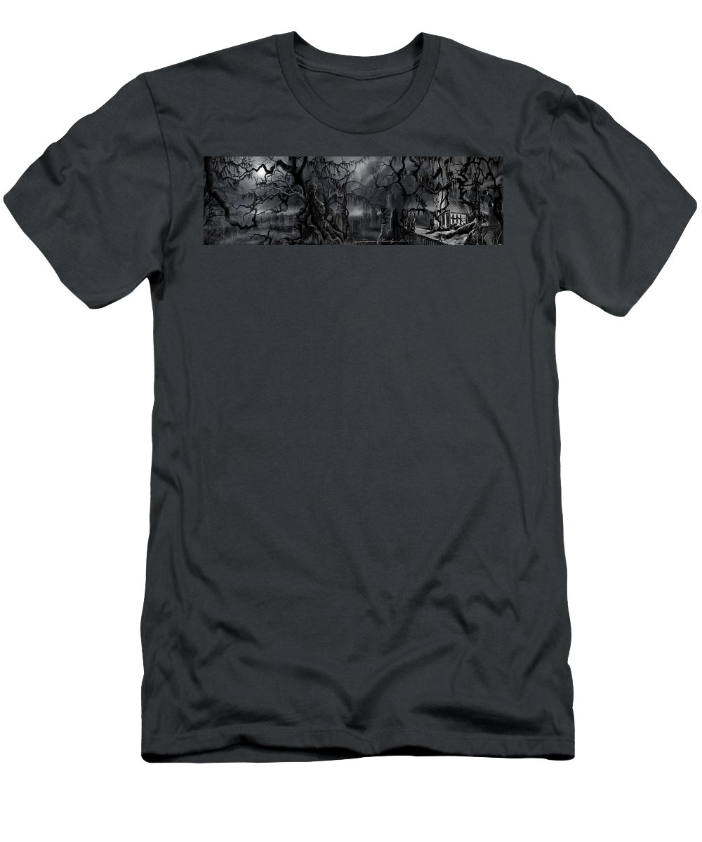 James Christopher Hill T-Shirt featuring the painting Darkness Has Crept in the Midnight Hour by James Christopher Hill
