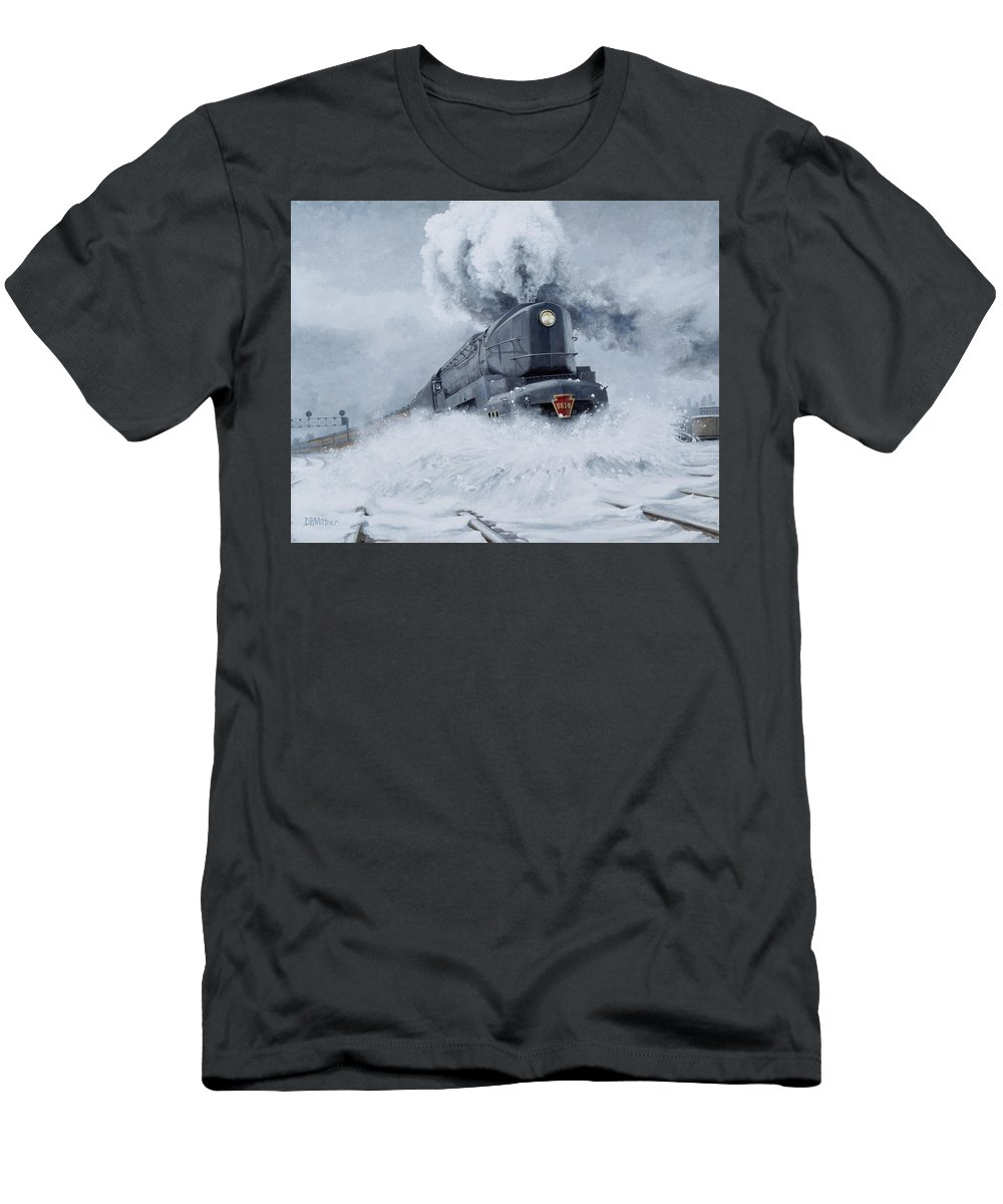 Trains Men's T-Shirt (Athletic Fit) featuring the painting Dashing Through The Snow by David Mittner