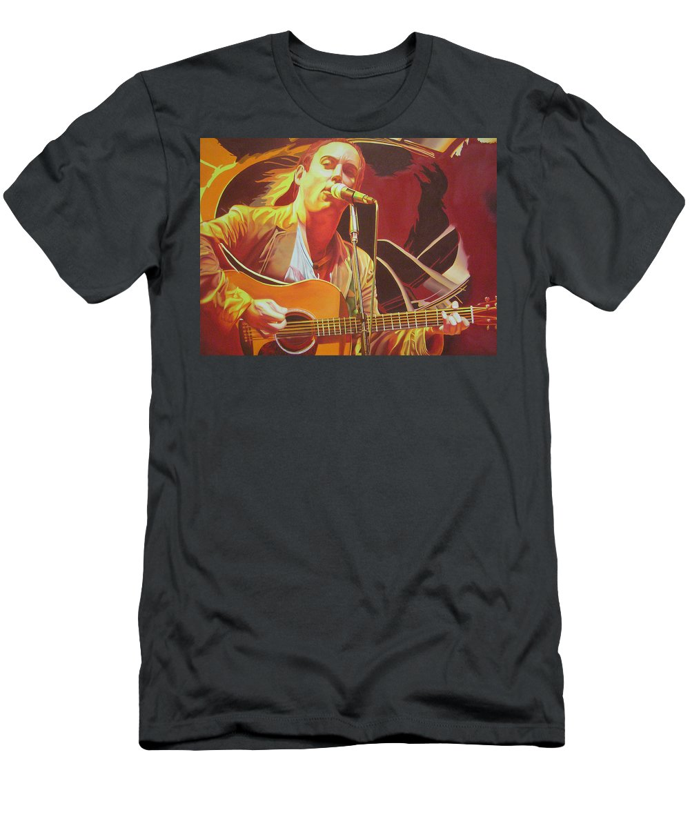 Dave Matthews Men's T-Shirt (Athletic Fit) featuring the painting Dave Matthews At Vegoose by Joshua Morton