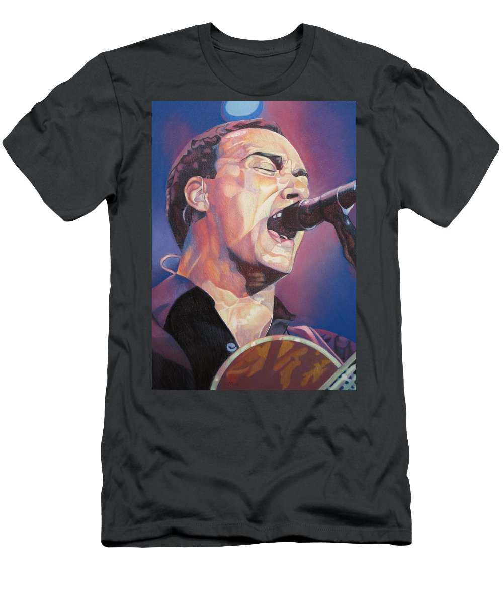 Dave Matthews Men's T-Shirt (Athletic Fit) featuring the drawing Dave Matthews Colorful Full Band Series by Joshua Morton