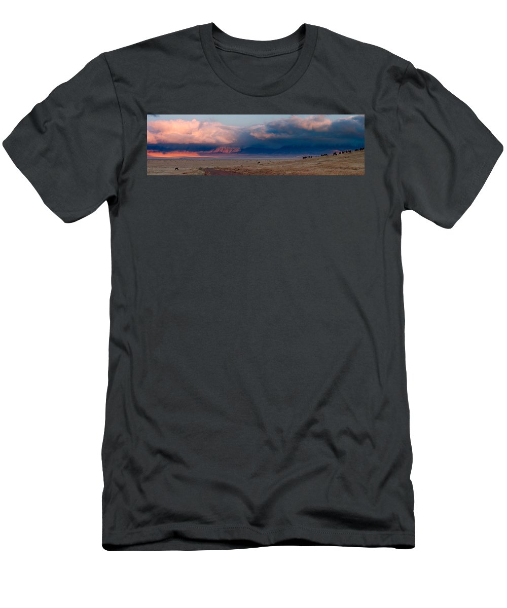 3scape Men's T-Shirt (Athletic Fit) featuring the photograph Dawn In Ngorongoro Crater by Adam Romanowicz