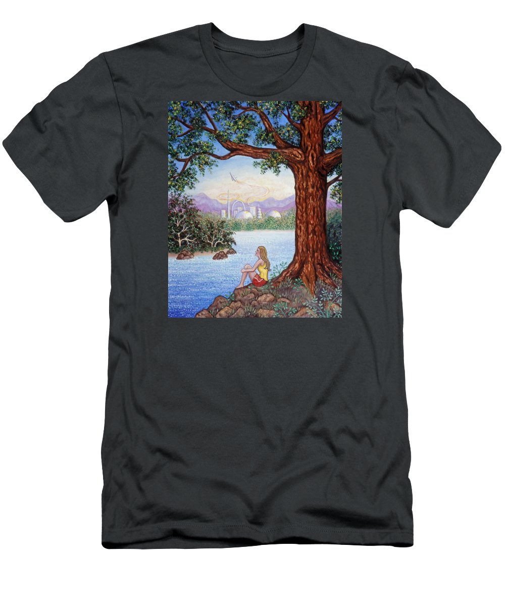 Landscape Men's T-Shirt (Athletic Fit) featuring the painting Day Dreams by Linda Mears