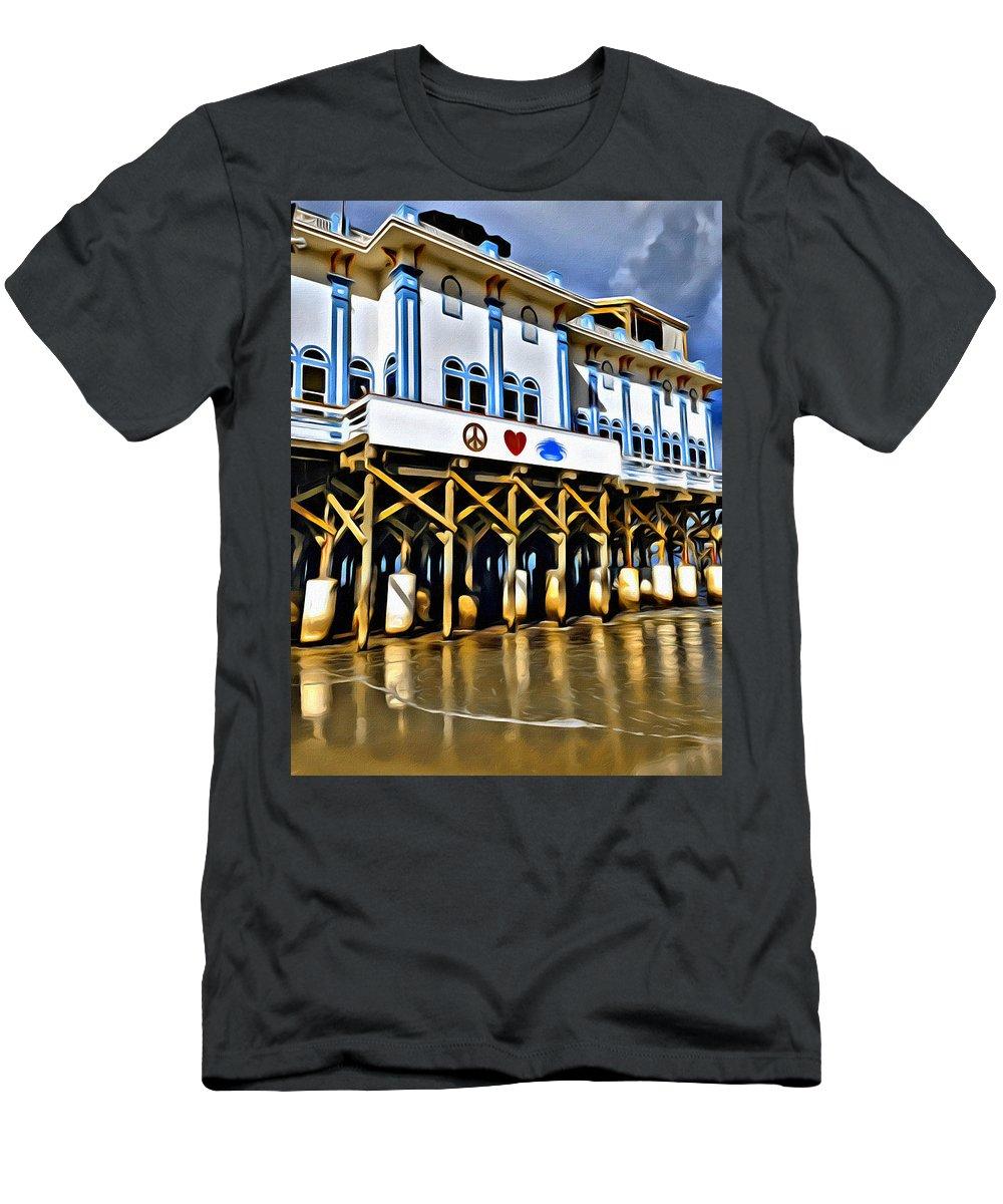 Pier Daytona Beach Florida Seaside Ocean Water Men's T-Shirt (Athletic Fit) featuring the photograph Daytona Beach Pier by Alice Gipson