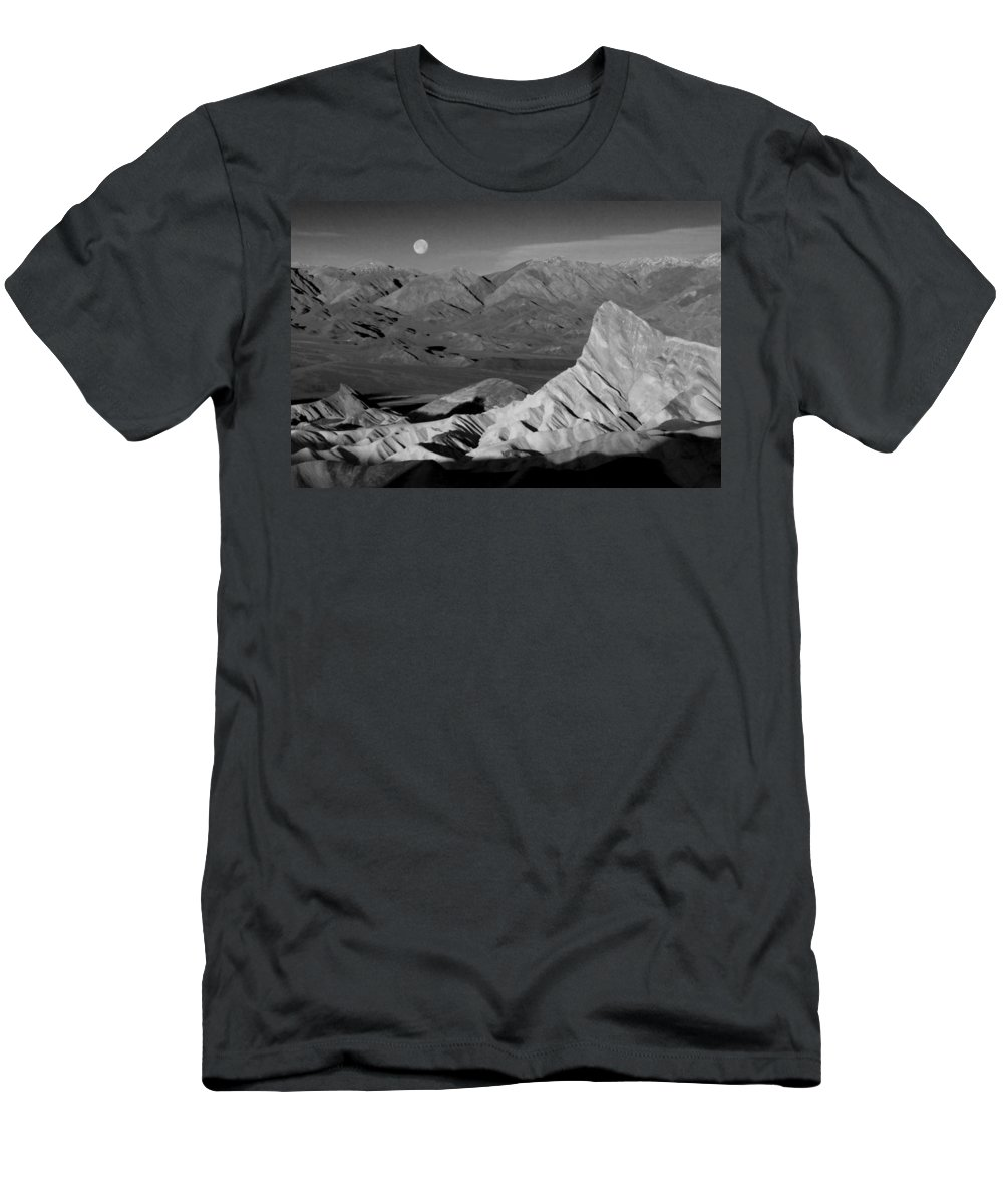 Death Valley Men's T-Shirt (Athletic Fit) featuring the photograph Death Valley Zabriskie Point Bw Img 0525psd by Greg Kluempers
