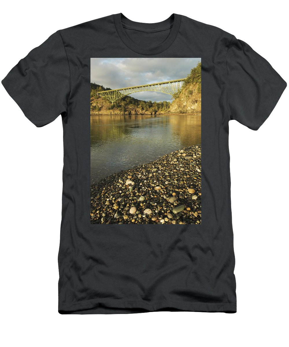 Feb0514 Men's T-Shirt (Athletic Fit) featuring the photograph Deception Pass Bridge Whidbey Isl by Kevin Schafer