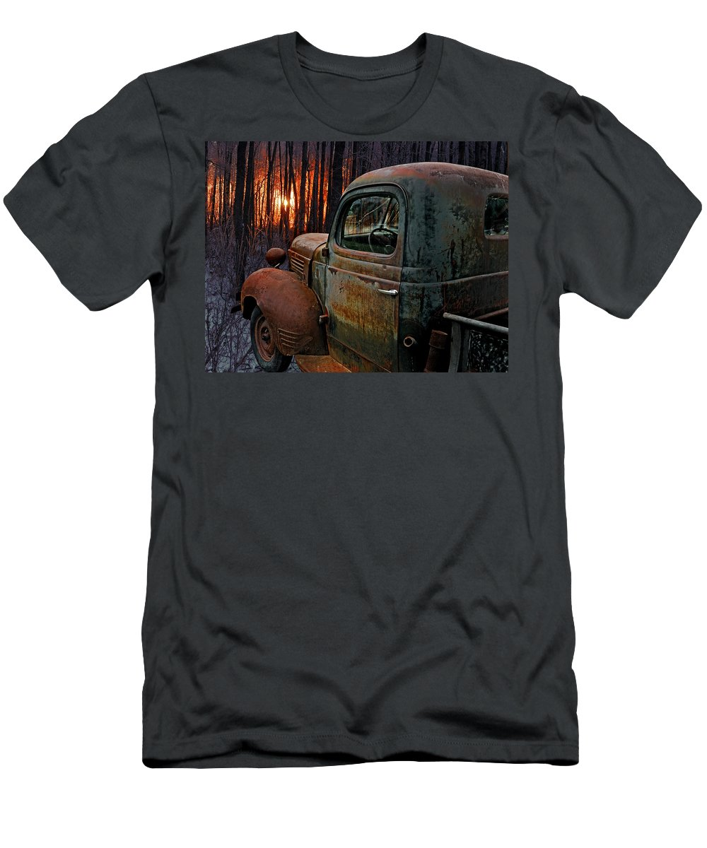 Pickup Men's T-Shirt (Athletic Fit) featuring the photograph Deer Hunting by Ron Day