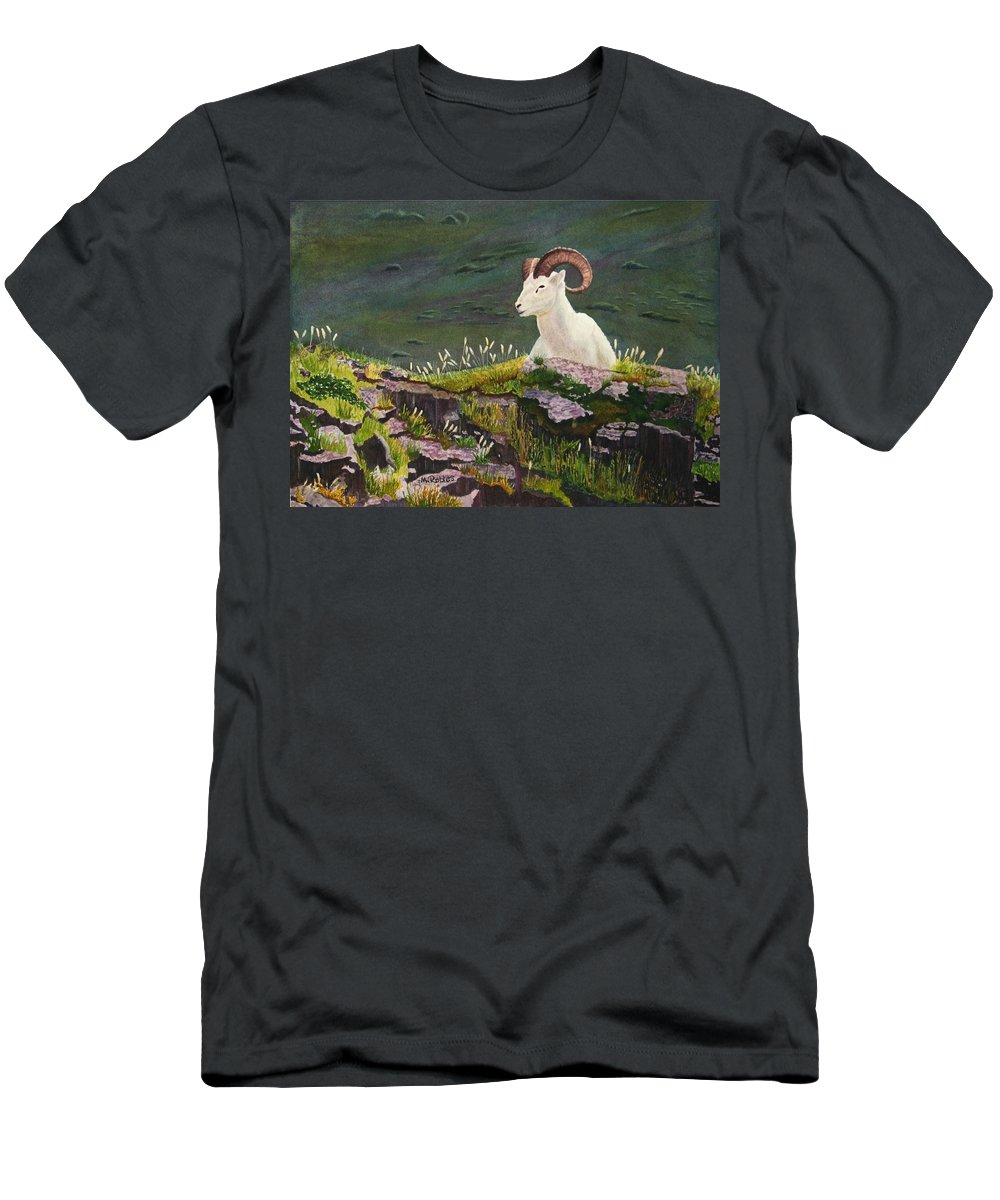 Denali Men's T-Shirt (Athletic Fit) featuring the painting Denali Dall Sheep by Mike Robles