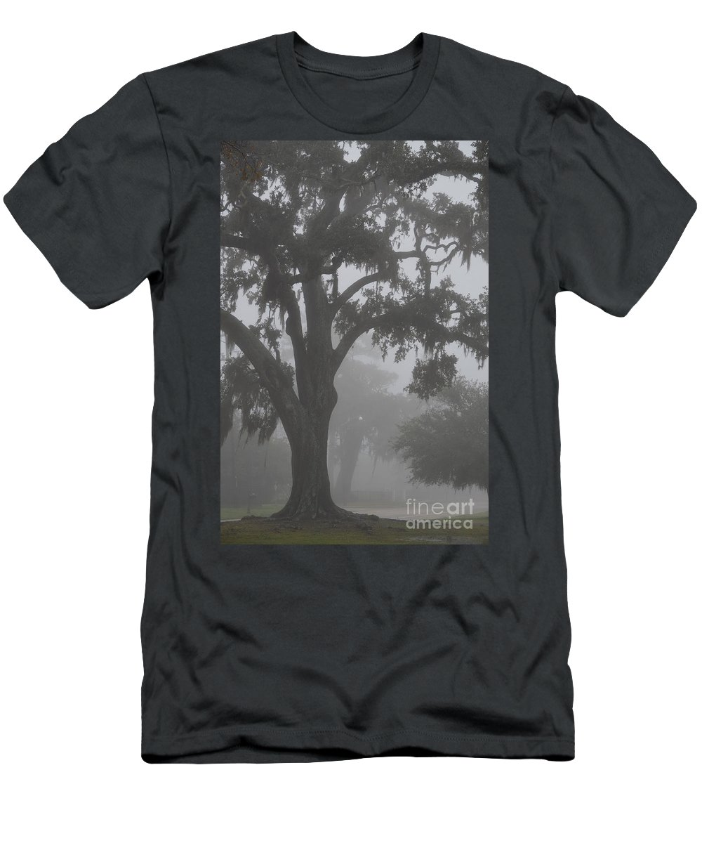 Dense Fog Men's T-Shirt (Athletic Fit) featuring the photograph Dense Morning Fog In Oaks by Xyldia Grace