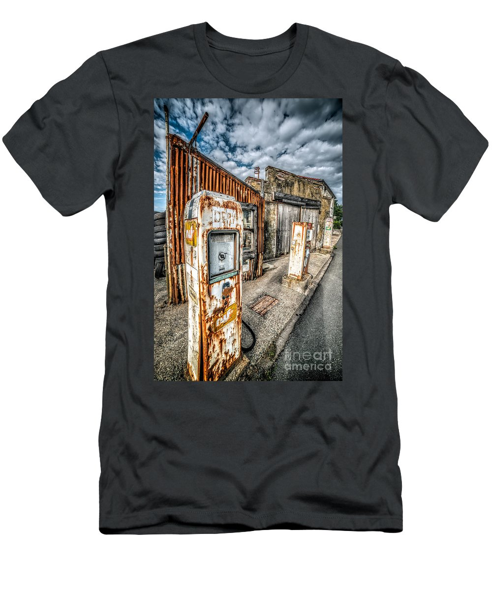 Derelict Men's T-Shirt (Athletic Fit) featuring the photograph Derelict Gas Station by Adrian Evans