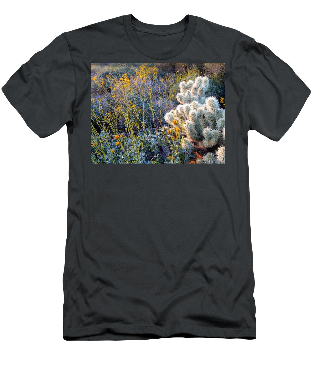 Cactus Men's T-Shirt (Athletic Fit) featuring the photograph Desert Contrasts by Nelson Strong
