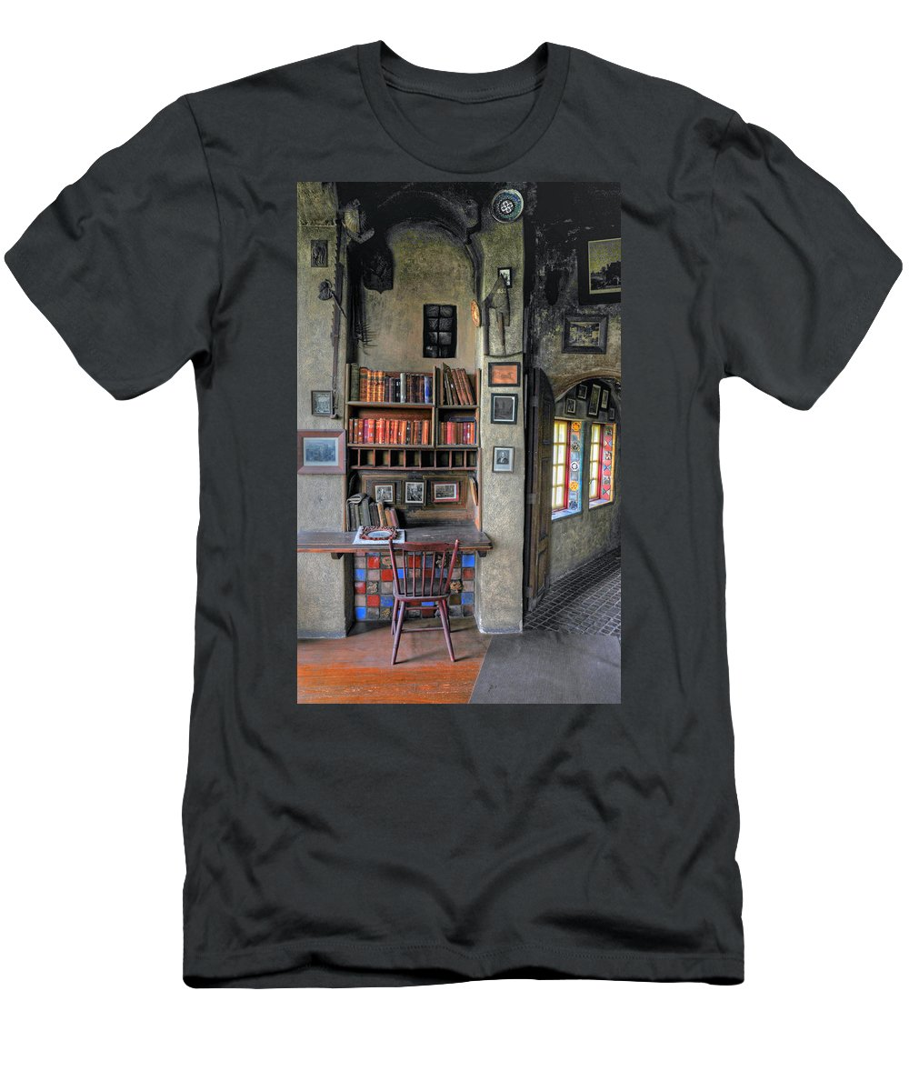 Castle Men's T-Shirt (Athletic Fit) featuring the photograph Desk At The Castle by Dave Mills