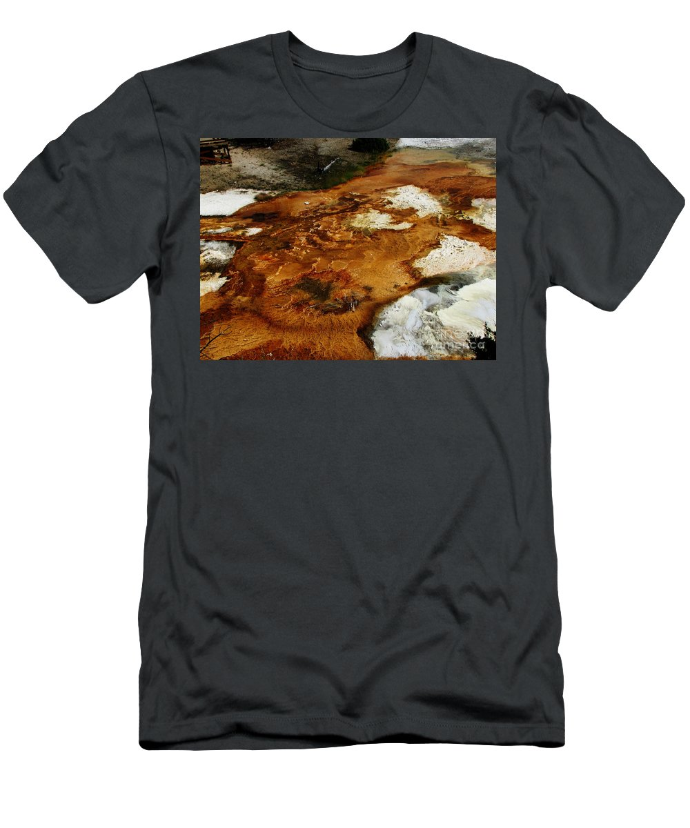 Landscape Men's T-Shirt (Athletic Fit) featuring the photograph Detail Mammoth Springs Yellowstone by Ron Tackett