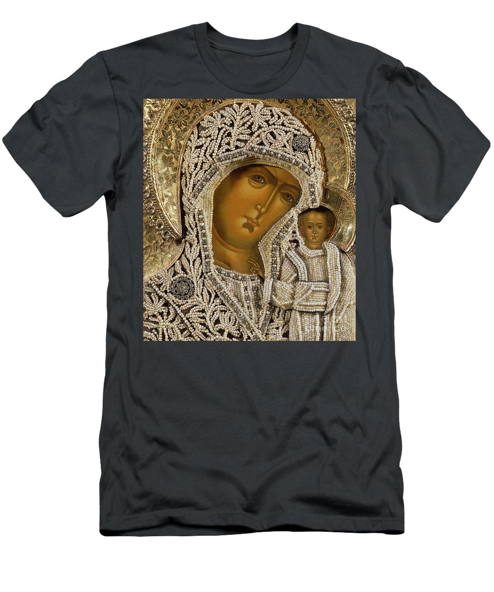 Black Madonna; Pearl; Negro Men's T-Shirt (Athletic Fit) featuring the mixed media Detail Of An Icon Showing The Virgin Of Kazan By Yegor Petrov by Russian School