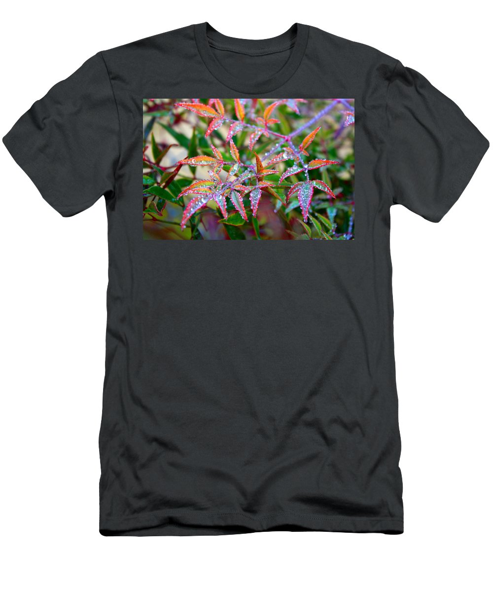 Dew Men's T-Shirt (Athletic Fit) featuring the photograph Dewdrops by Kathryn Meyer