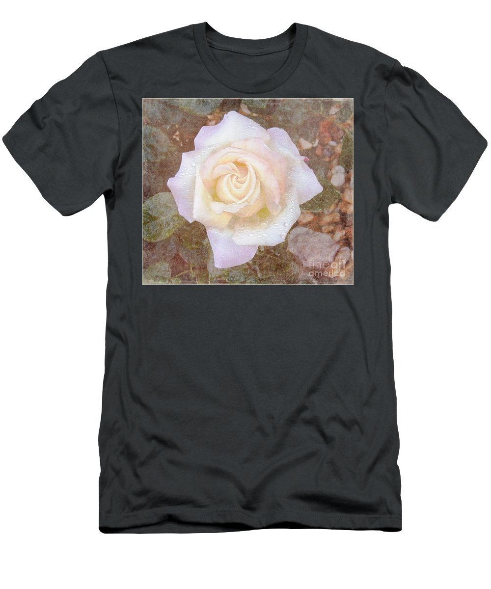 Roses Prints Men's T-Shirt (Athletic Fit) featuring the photograph Dewy Dawn Peace Rose by Alys Caviness-Gober