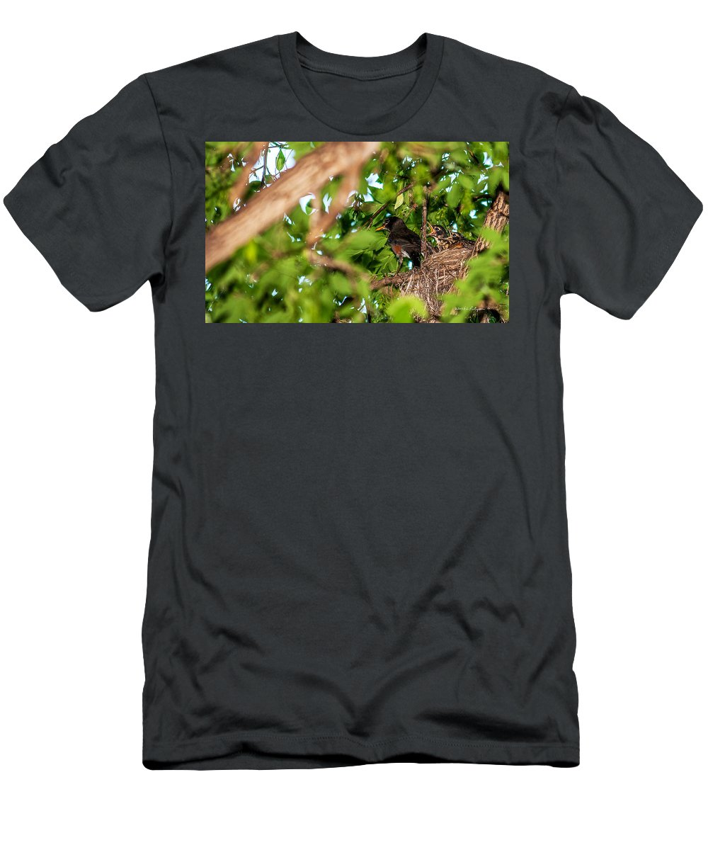 Heron Heaven Men's T-Shirt (Athletic Fit) featuring the photograph Dinner Time by Edward Peterson