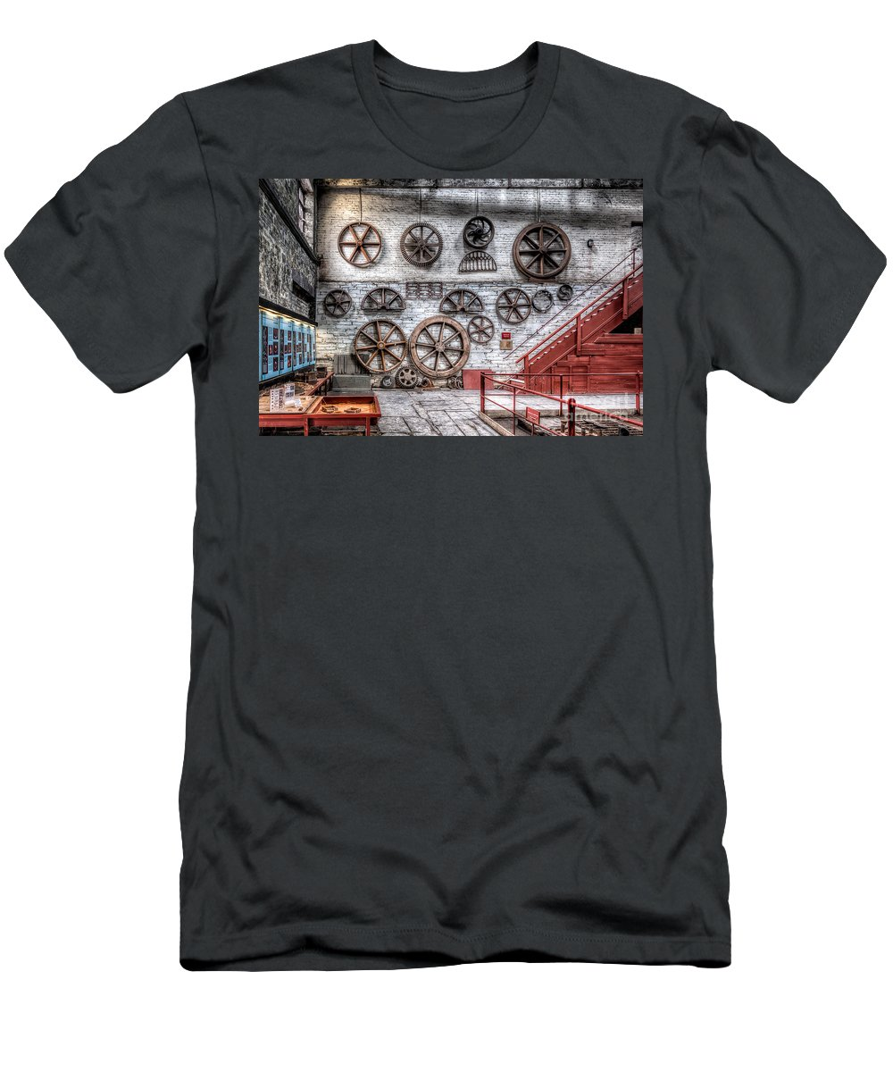 Dinorwig Quarry Men's T-Shirt (Athletic Fit) featuring the photograph Dinorwig Quarry Workshop by Adrian Evans