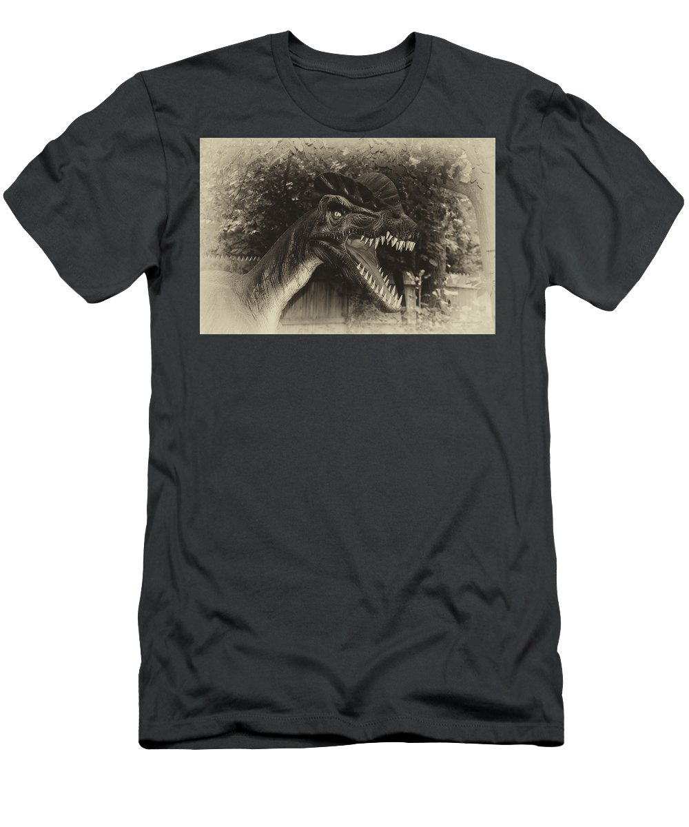 Dinosaur Men's T-Shirt (Athletic Fit) featuring the photograph Dino's At The Zoo Come Here Cameraman In Heirloom Finish by Thomas Woolworth