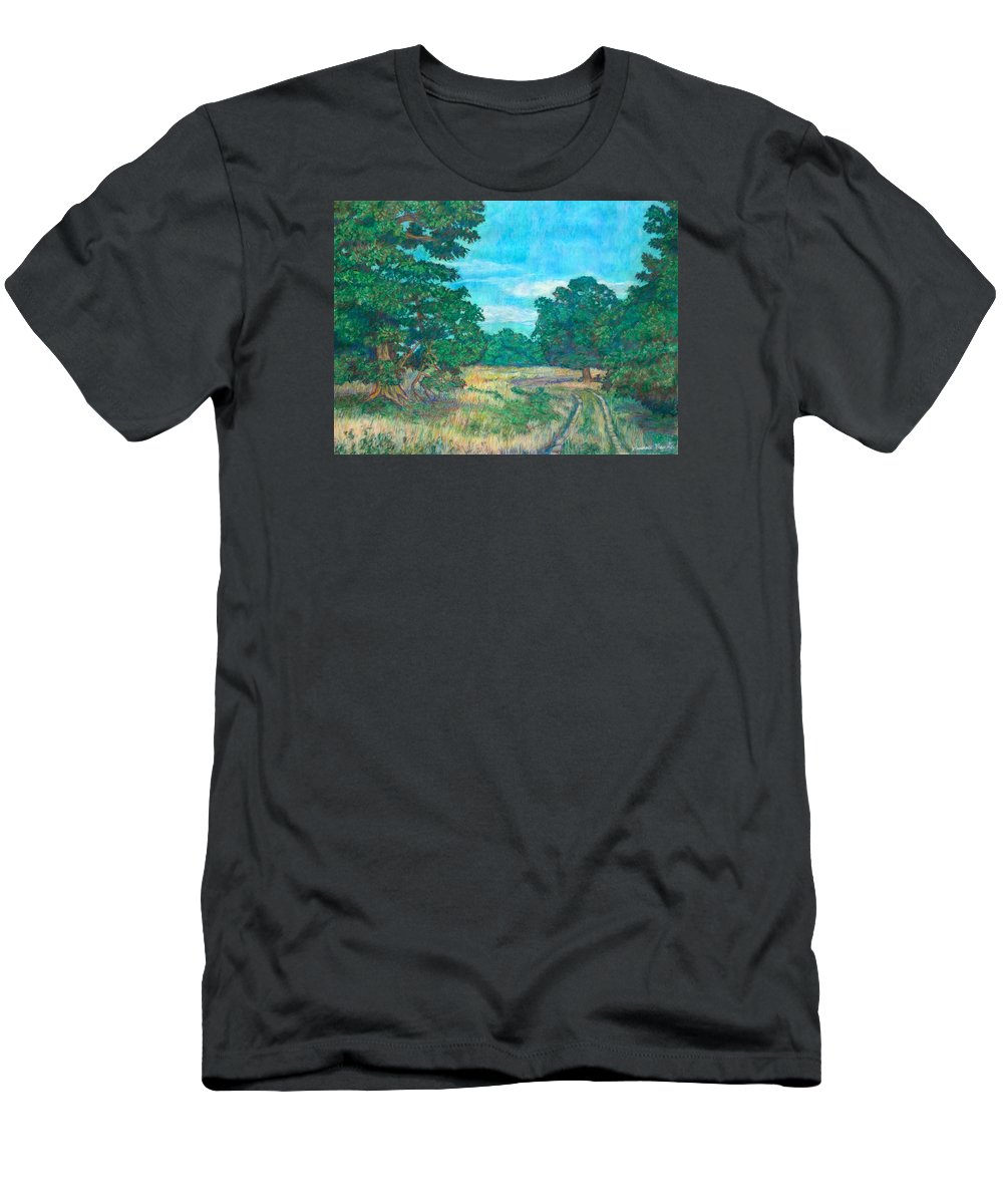Landscape Men's T-Shirt (Athletic Fit) featuring the painting Dirt Road Near Rock Castle Gorge by Kendall Kessler
